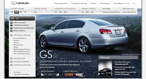 New 2008 Lexus GS Website