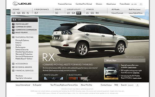 2009 Lexus RX Website