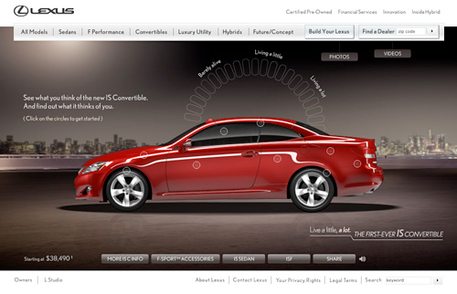 Lexus IS Convertible Website