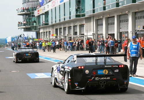 Two Lexus LFAs Racing