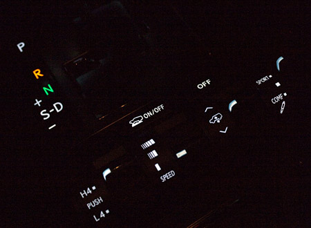 Lexus LX570 Toggle Switches at Night