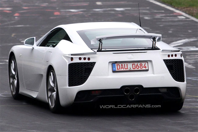 White Lexus LF-A from the rear