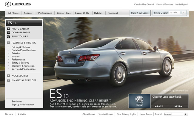 2010 Lexus ES 350 Website