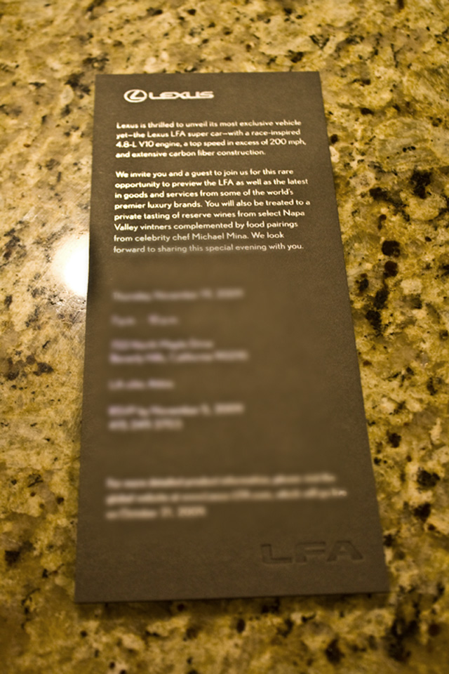Lexus LFA Invitation 2