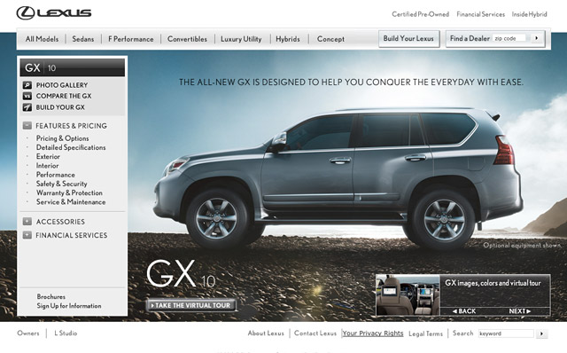 Lexus GX 460 on Lexus USA Website