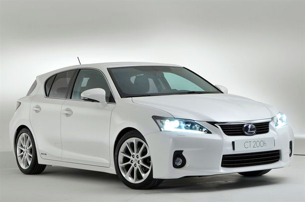 Lexus CT 200h with lights on