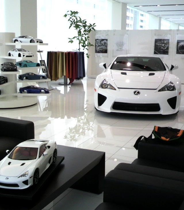 Lexus Takanawa dealership with LFA display