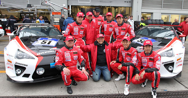 Akio Toyoda with Lexus LFA Teams