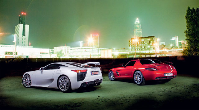 Lexus LFA and Mercedes SLS Together