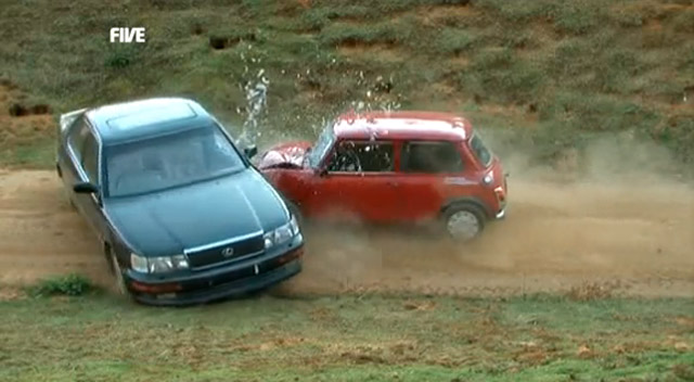 Lexus LS 400 being hit by an Austin Mini