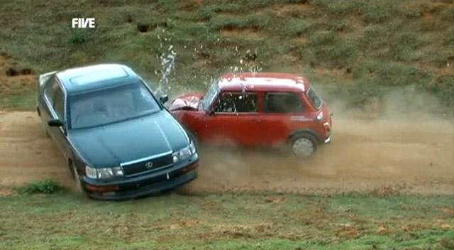 Lexus LS 400 being hit by an Austin Mini