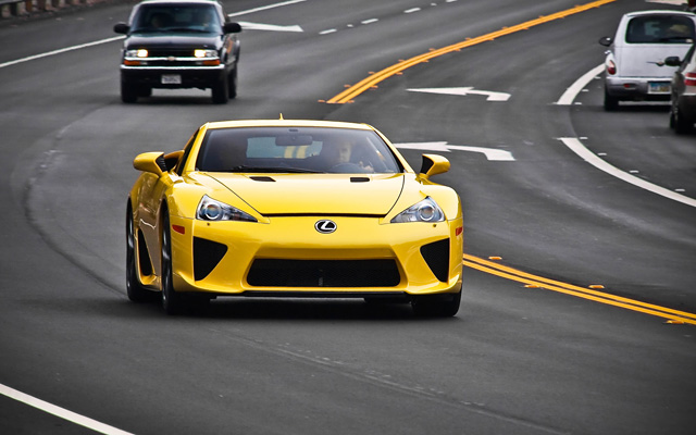 Yellow Lexus LFA on the Highway