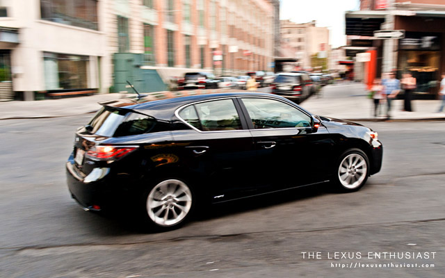 Lexus CT 200h Black driving around NYC