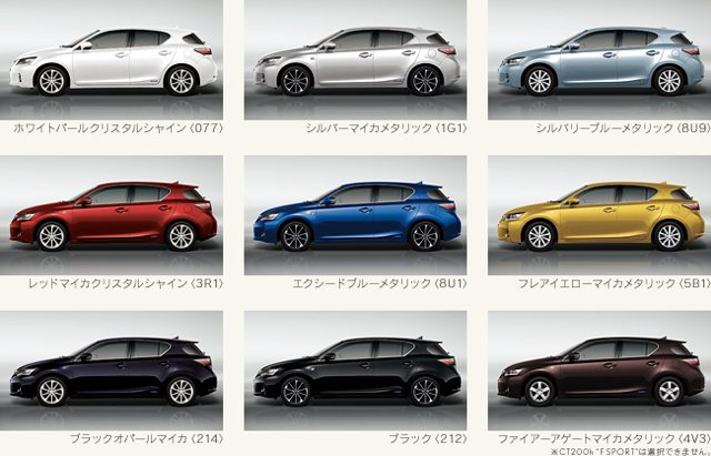 Lexus CT 200h Japan Exterior Color Options
