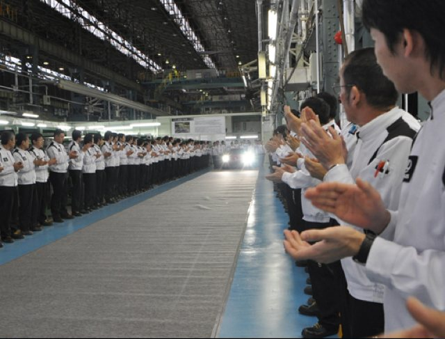 First Production Lexus LFA Rolling off the line