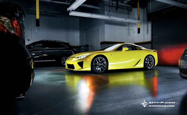 Yellow Lexus LFA in Garage