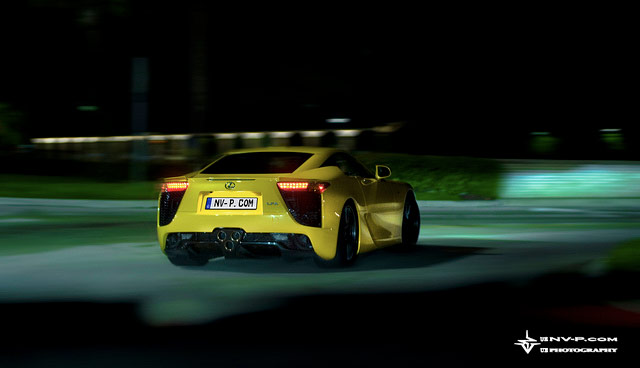 Yellow Lexus LFA Driving at Night