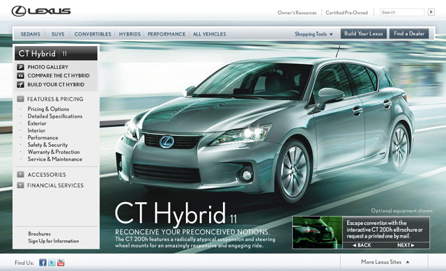 Lexus CT 200h Website
