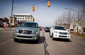 Automobile Magazine compares the Lexus LX 570 vs. Infiniti QX56