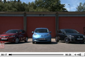 Lexus CT 200h vs. Nissan Leaf vs. VW Golf GTD