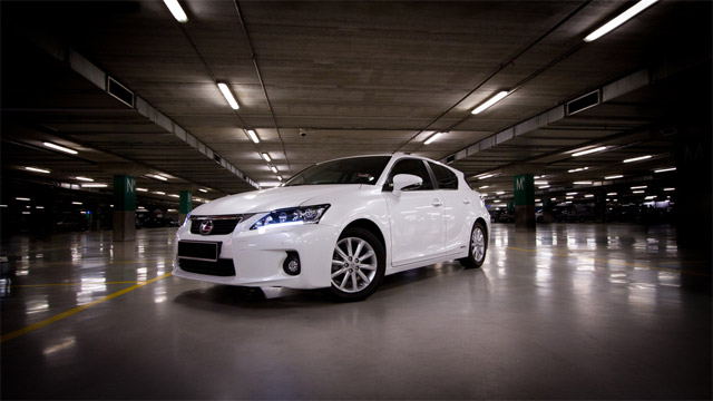 Lexus CT 200h in an Ikea parking garage