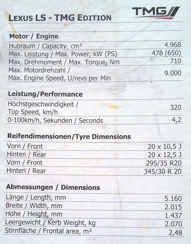 Lexus LS TMG Edition Specs