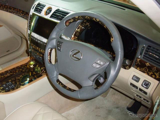 tokyo auto salon lexus ls with a spindle grille louis vuitton interior lexus enthusiast. Black Bedroom Furniture Sets. Home Design Ideas