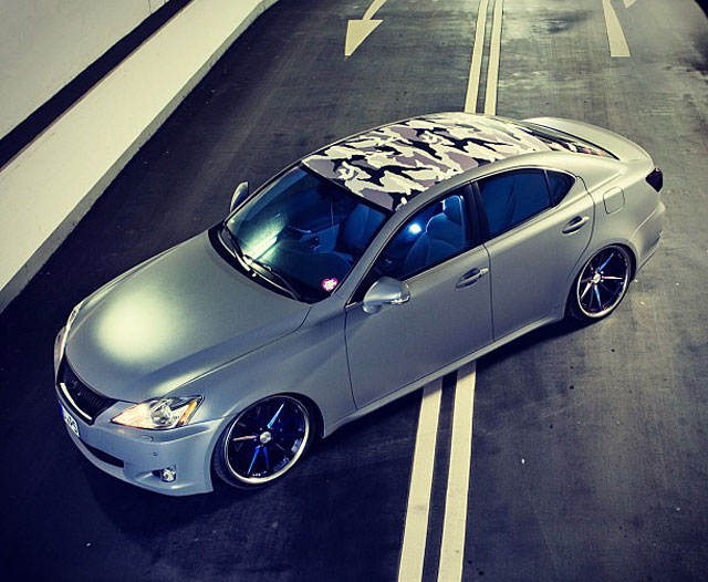 Matte Grey Lexus IS with Camouflage Roof