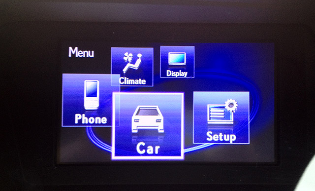 Lexus Display Audio Controller Menu