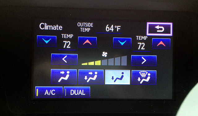 Lexus Display Audio Controller Menu Climate