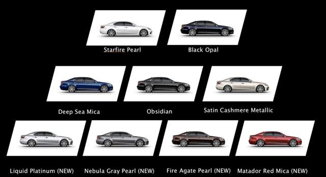 2013 Lexus LS Exterior Color Options
