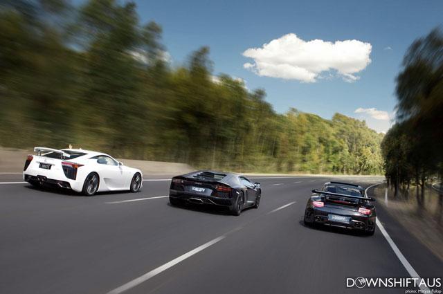 Lexus LFA & Lamborghini Aventador & Porsche 997