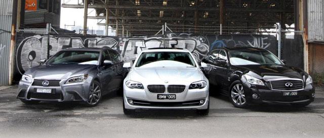 Lexus GS 450h vs. BMW ActiveHybrid 5 vs. Infiniti M35h