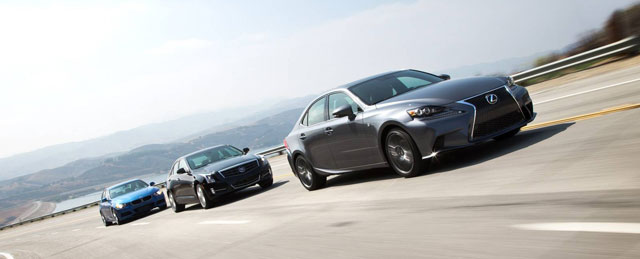 2013 BMW 328i M Sport, 2013 Cadillac ATS 2.0 Premium, and 2014 Lexus IS250 F Sport