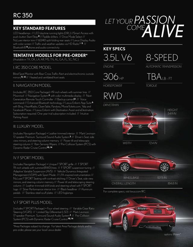 Lexus RC 350 Pre-Order Brochure