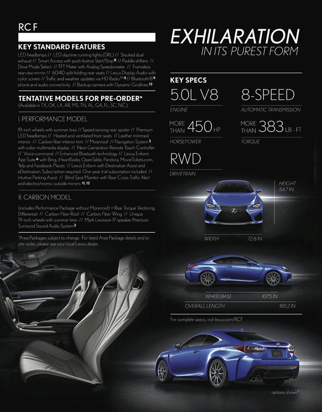 Lexus RC F Page Pre-Order Brochure