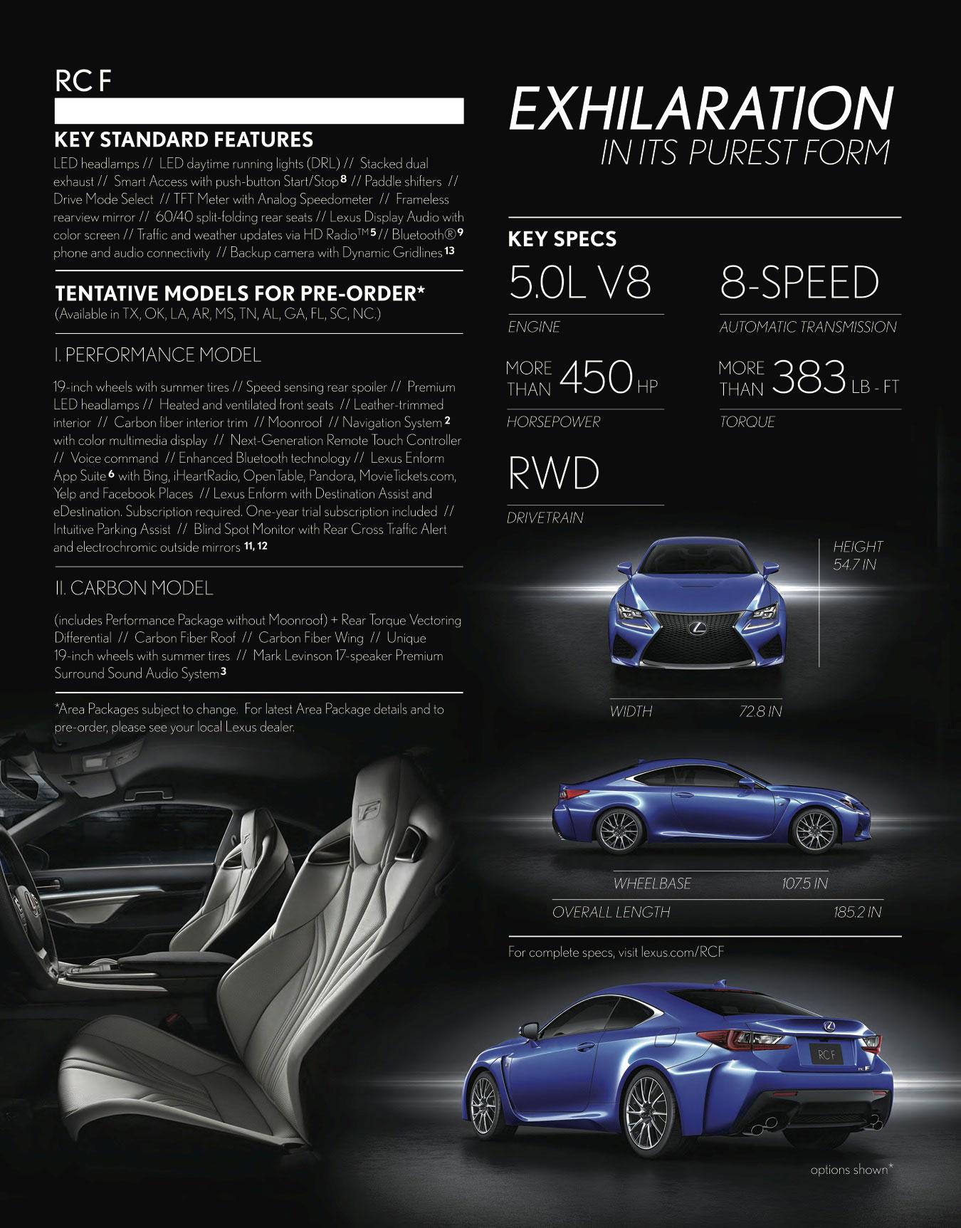 Lexus Rc F Pre Order Brochure Released Lexus Enthusiast