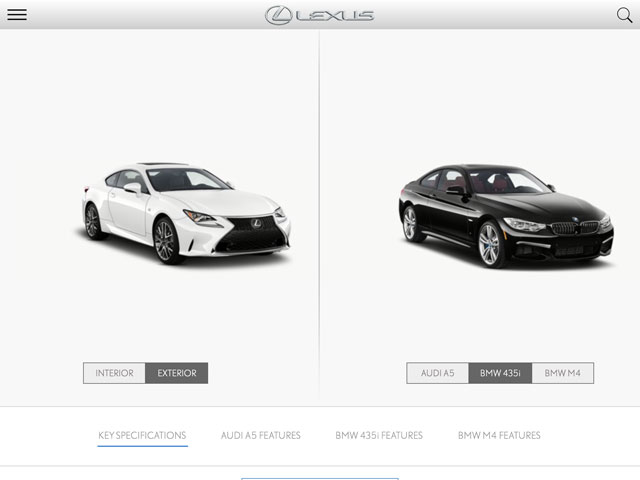 Lexus RC 350 vs BMW 435i Exterior
