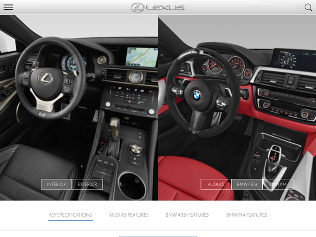 Lexus RC F vs BMW M4 Interior