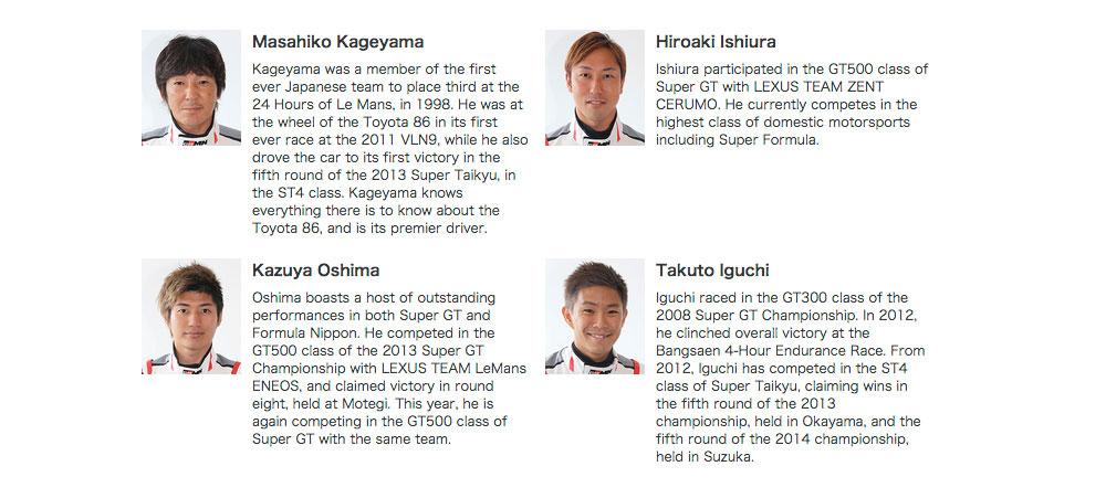 Lexus LFA Code X Team Drivers