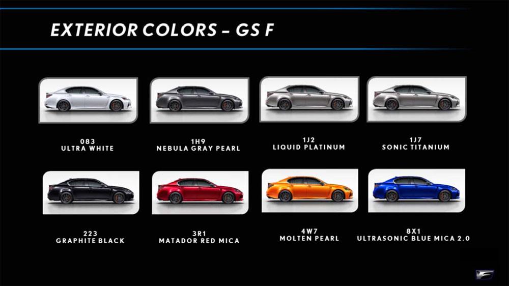 Lexus GS F Color Chart