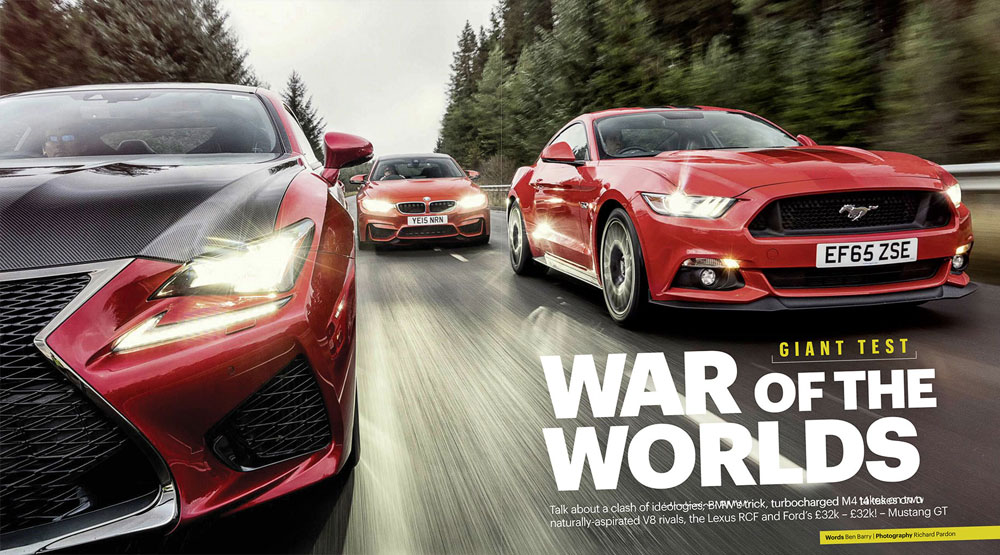 Lexus RC F vs. BMW M4 vs. Ford Mustang