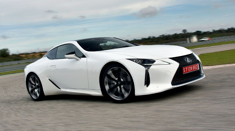 Lexus LC White Driving