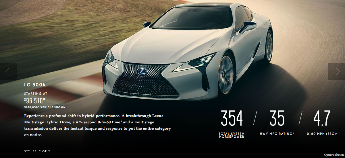 Lexus USA Fuel Economy LC Hybrid Coupe