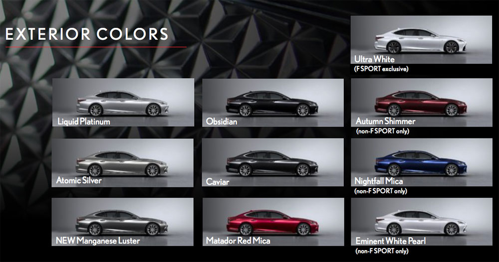 Lexus LS Exterior Colors