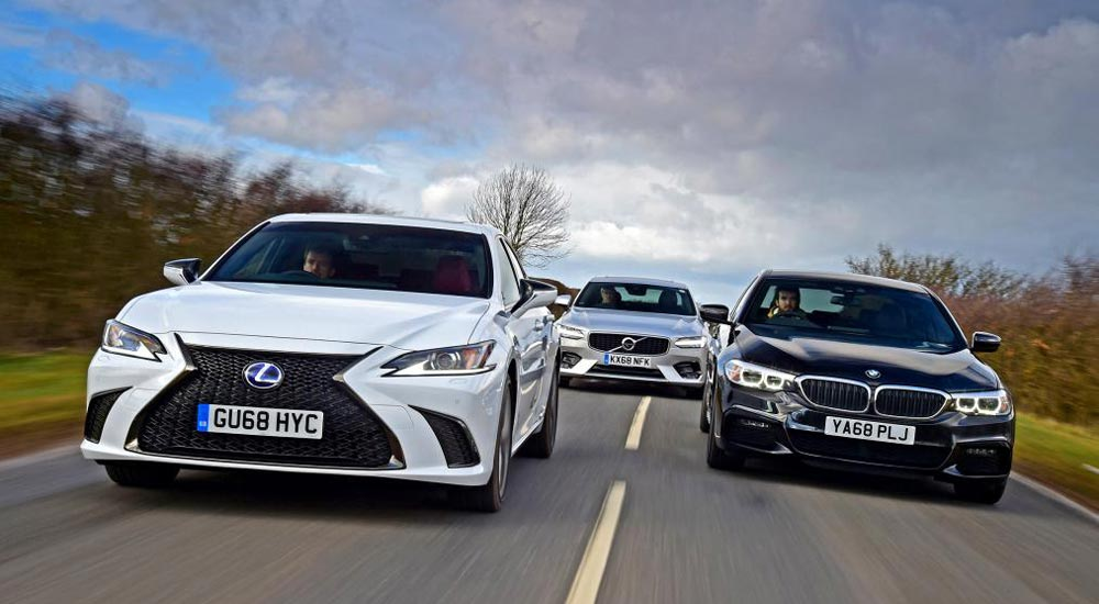 Lexus ES 300h vs BMW 5-Series vs. Volvo S90